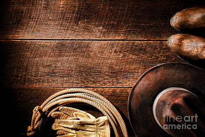 Working Cowboy Photograph - Rodeo Background by Olivier Le Queinec