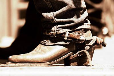 Photograph - Rodeo Boot And Spur In Copper Tint by Lincoln Rogers