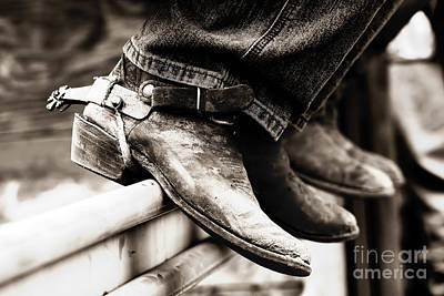 Art Print featuring the photograph Rodeo Boots And Spurs In Black And White by Lincoln Rogers