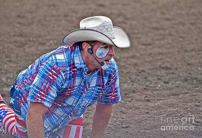 Rodeo Clown Cowboy In Dust Art Print by Valerie Garner