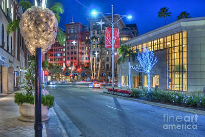 Photograph - Rodeo Drive Lit At Night With Beautiful Colors by David Zanzinger