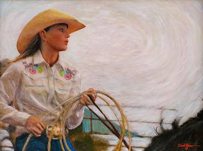 Pretty Cowgirl Painting - Rodeo Girl by Daniel Adams