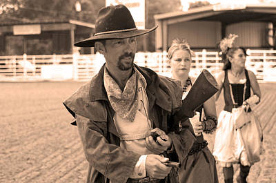Beaded Gloves Photograph - Rodeo Gunslinger With Saloon Girls Sepia by Sally Rockefeller