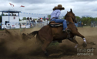 Barrel Racing Photograph - Rodeo Ladies Barrel Race 1 by Bob Christopher