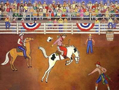 Rodeo Clown Painting - Rodeo One Original by Linda Mears