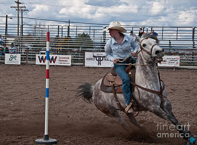 Photograph - Rodeo Pole Racing Teen by Valerie Garner