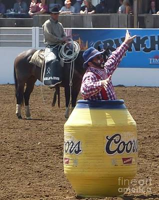 Photograph - Rodeo Time Clown In Coors Beer Barrel 2  by Susan Garren