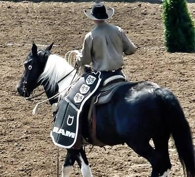 Photograph - Rodeo Time Cowboy Black Horse by Susan Garren