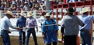 Photograph - Rodeo Time Cowboys Working by Susan Garren