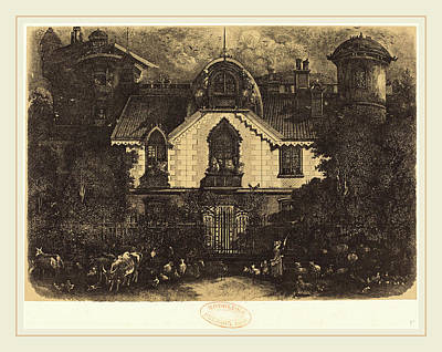 Haunted House Drawing - Rodolphe Bresdin French, 1822-1885, La Maison Enchantée by Litz Collection