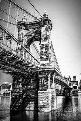 Roebling Bridge Photograph - Roebling Bridge Cincinnati Black And White Picture by Paul Velgos