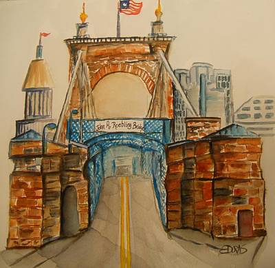 Roebling Bridge Painting - Roebling Bridge by Elaine Duras