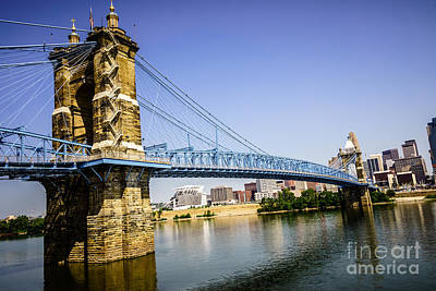 Roebling Bridge In Cincinnati Ohio Print by Paul Velgos