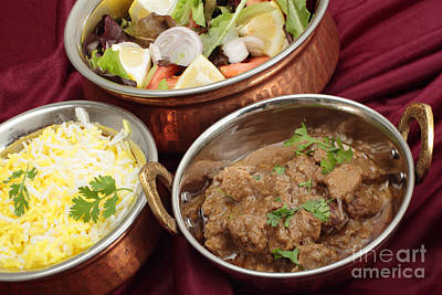 Photograph - Rogan Josh Bowl With Rice And Salad by Paul Cowan