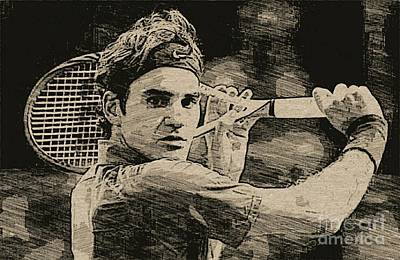 Roger Federer Drawing - Roger Federer by Blackwater Studio