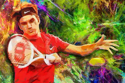 Sports Royalty-Free and Rights-Managed Images - Roger Federer by RochVanh