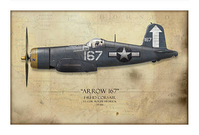 Black Hills Painting - Roger Hedrick F4u Corsair - Map Background by Craig Tinder