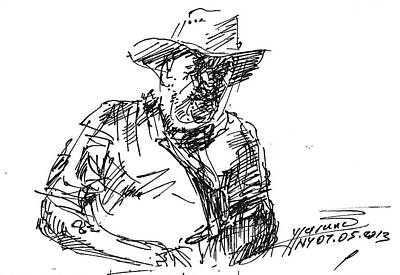 Cowboy Drawing - Roger In A Cowboy Hat by Ylli Haruni