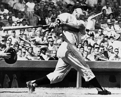 Home Run Photograph - Roger Maris Hits 52nd Home Run by Underwood Archives