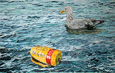 Painting - Roger P's Buoy And Gull by Laurence Dahlmer