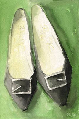 Whimsical. Painting - Roger Vivier Black Buckle Shoes Fashion Illustration Art Print by Beverly Brown Prints