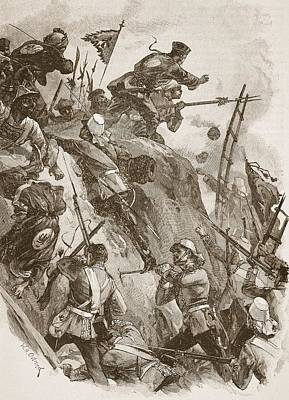 Fort Drawing - Rogers Got In, Helped Up By Lieutenant by William Heysham Overend