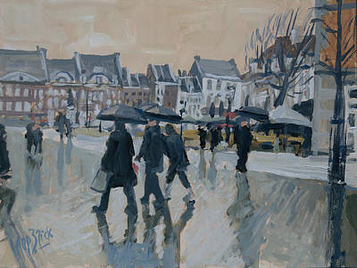 Impressionist Painting - Rain On The Market Square In Maastricht by Nop Briex
