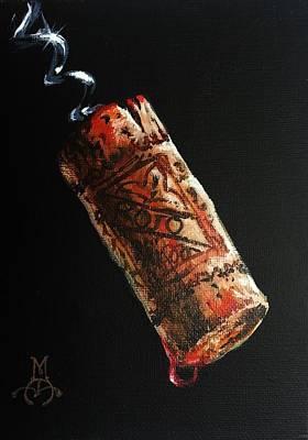 Cork Screw Painting - Rojo by Marco Antonio Aguilar