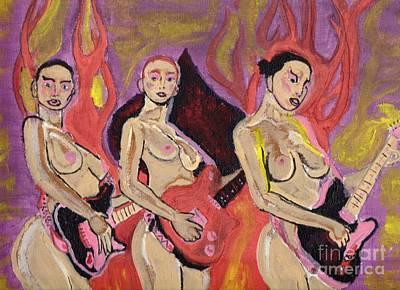 Nude Woman Guitar Painting - Rokette An Roll by Robert Garris