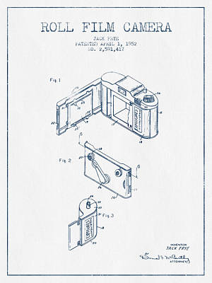 Roll Film Camera Patent From 1952- Blue Ink Art Print by Aged Pixel