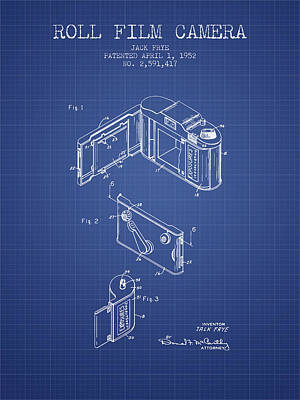 Roll Film Camera Patent From 1952 - Blueprint Art Print by Aged Pixel