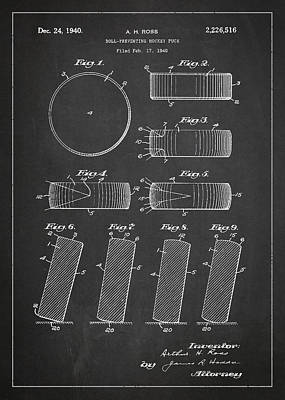 Hockey Games Digital Art - Roll Prevention Hockey Puck Patent Drawing From 1940 by Aged Pixel