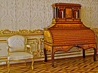 Catherine Palace In Russia Photograph - Roll-top Desk In Catherine's Palace In Pushkin-russia by Ruth Hager