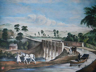 Painting - Rolle Canal And Aquaduct                              by Alan Kirkland-Roath