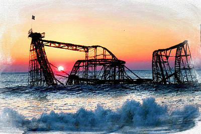 Jersey Shore Painting - Roller Coaster After Sandy by Tony Rubino