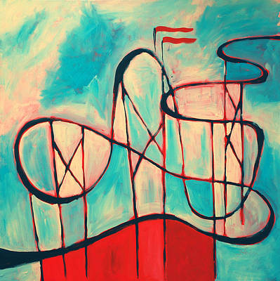 Rollercoaster Painting - Roller Coaster by Karin Stein