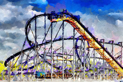 Roller Coaster Painting Print by Magomed Magomedagaev