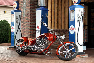 Two Wheeler Photograph - Roller Coaster Red Copper Chopper by Lorenzo Williams