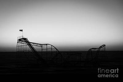 Roller Coaster Silhouette Black And White Art Print by Michael Ver Sprill