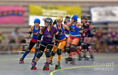 Photograph - Roller Derby Women In Action by Valerie Garner
