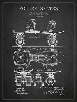 Roller Skate Patent Drawing From 1879 - Dark Art Print by Aged Pixel