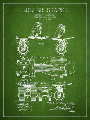 Roller Skate Patent Drawing From 1879 - Green Art Print by Aged Pixel