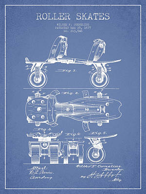 Roller Skate Patent Drawing From 1879 - Light Blue Art Print by Aged Pixel