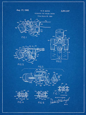 Roller Skate Patent Two In Blue Art Print by Decorative Arts