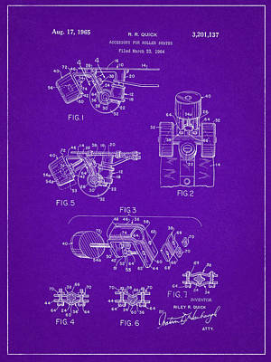 Roller Skate Patent Two In Purple Art Print by Decorative Arts