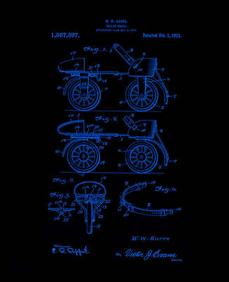 Digital Art - Roller Skates 1921 Karro Neon Blue by Lesa Fine