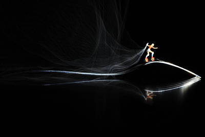 Surreal Photograph - Roller Skating On A Fork With Smoke Torch by Paul Ge