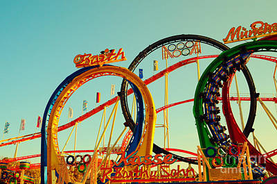 Octoberfest Photograph - Rollercoaster At The Octoberfest In Munich by Sabine Jacobs