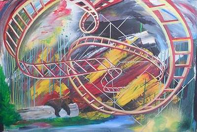 Rollercoaster Painting - Rollercoaster Bear by Toblerusse