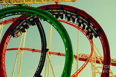 Rollercoaster Looping At The Actoberfest In Munich Art Print by Sabine Jacobs